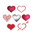 collection valentines hearts vector image vector image