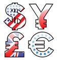 currencies signs vector image vector image