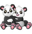 cute panda couple in love vector image vector image