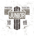 Emblem racing junior in retro style vector image vector image
