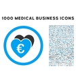 Euro Favorites Icon with 1000 Medical Business vector image vector image