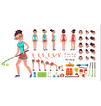 field hockey player female animated vector image vector image