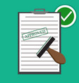 flat approved paper document vector image vector image