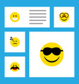flat icon emoji set of pleasant happy asleep and vector image