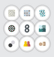flat icon play set of people chequer lottery and vector image