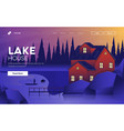 flat modern design lake house vector image vector image