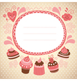 frame with cute cupcakes vector image vector image