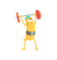 funny banana doing exercises with barbell cartoon vector image vector image