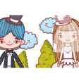 girl and boy marriage with kawaii clouds and vector image