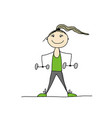 girl doing sport exercises sketch for your design vector image vector image