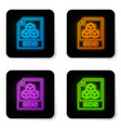 glowing neon 3ds file document icon download 3ds vector image vector image
