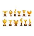 golden cup cartoon winning award sport vector image