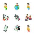 gossip icons set isometric style vector image vector image