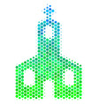 halftone blue-green christian church icon vector image vector image
