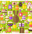 Happy Easter Holiday Flat Green Seamless Pattern vector image vector image