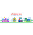 house exterior town landscape houses along the vector image vector image