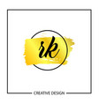 initial letter rk logo template design vector image