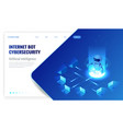 isometric internet bot and cybersecurity vector image
