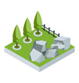 isometric stone garden vector image