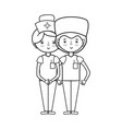 line doctor and nurse to help people vector image vector image