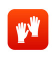 medical gloves icon digital red vector image vector image