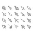 mouse cursor simple black line icons set vector image vector image