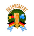 oktoberfest label with a beer glass and flags vector image vector image