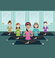 people doing yoga in a yoga studio vector image