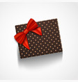 realistic gift box with red ribbon isolated vector image vector image