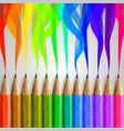 realistic wooden colorful pencils vector image vector image