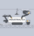 robotic arms and conveyor belt factory automation vector image