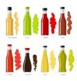 Sauces Set Different Bottles of Dressings vector image vector image