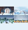 set cold winter background vector image