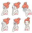 Side View Of Girl Cleaning And Care Her Face Set vector image vector image
