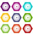 speedometer icon set color hexahedron vector image vector image