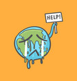 stop global warming earth globe crying vector image vector image