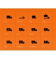 Truck and delivery icons on orange background vector image vector image