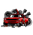 vintage car components collection wit automobile vector image vector image