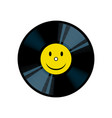 vinyl record with yellow smile pop art vector image vector image