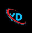 yd y d letter logo design initial letter yd vector image vector image