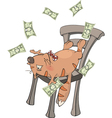 A business cat with money cartoon vector image vector image