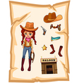 A piece of paper with an image of a cowgirl and a vector image vector image