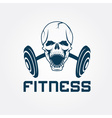 aggressive skull and barbell fitness emblem vector image vector image