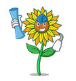 architect sunflower character cartoon style vector image