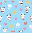 baby panda bears flowers clouds seamless pattern vector image vector image