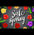 Beautiful spring sale design on a black background vector image vector image