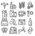 beer set outline icons vector image