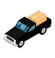 black pickup truck deliver cardboard boxes vector image vector image