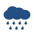 Blue cloud with falling rain isolated over vector image