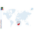 blue world map with magnifying on south africa vector image vector image